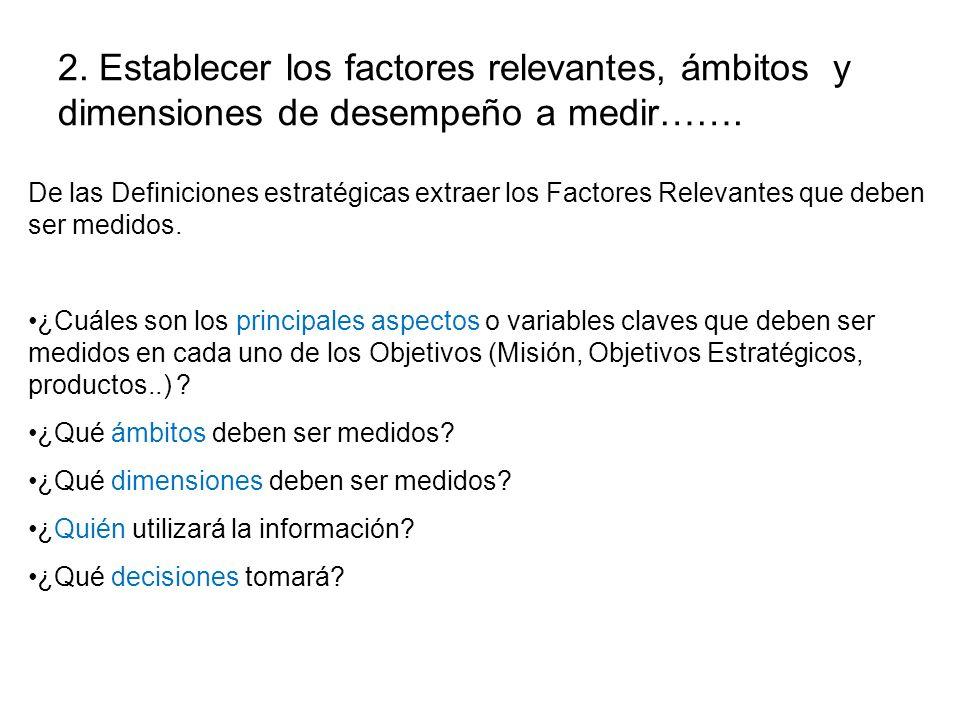 2. Establecer los factores relevantes, ámbitos y dimensiones de desempeño a medir…….