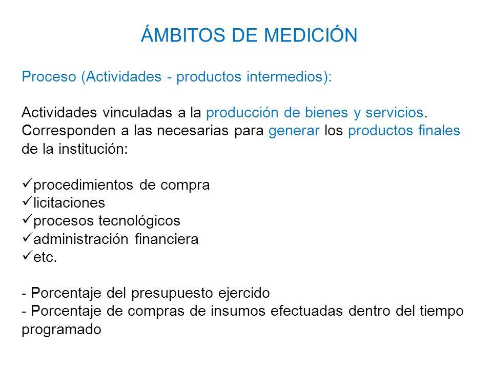 ÁMBITOS DE MEDICIÓN Proceso (Actividades - productos intermedios):