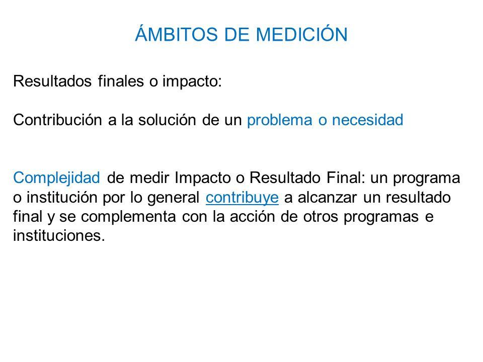 ÁMBITOS DE MEDICIÓN Resultados finales o impacto: