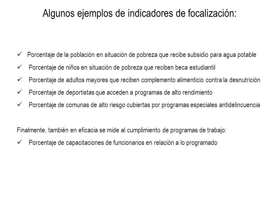 Algunos ejemplos de indicadores de focalización: