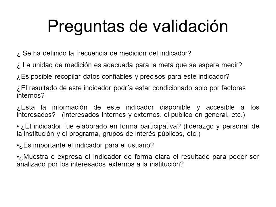 Preguntas de validación