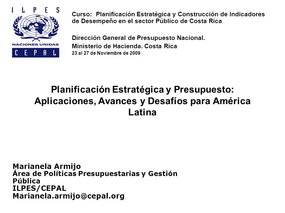 Curso: Planificación Estratégica y Construcción de Indicadores de Desempeño en el sector Público de Costa Rica