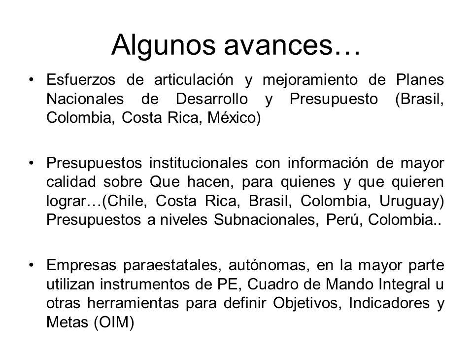 Algunos avances… Esfuerzos de articulación y mejoramiento de Planes Nacionales de Desarrollo y Presupuesto (Brasil, Colombia, Costa Rica, México)
