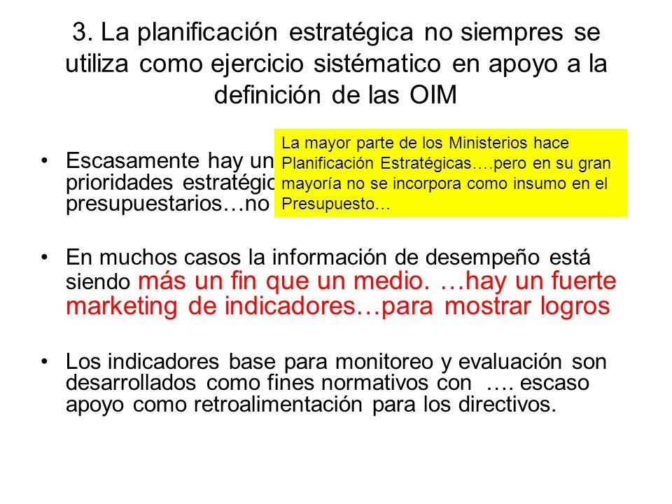 3. La planificación estratégica no siempres se utiliza como ejercicio sistématico en apoyo a la definición de las OIM
