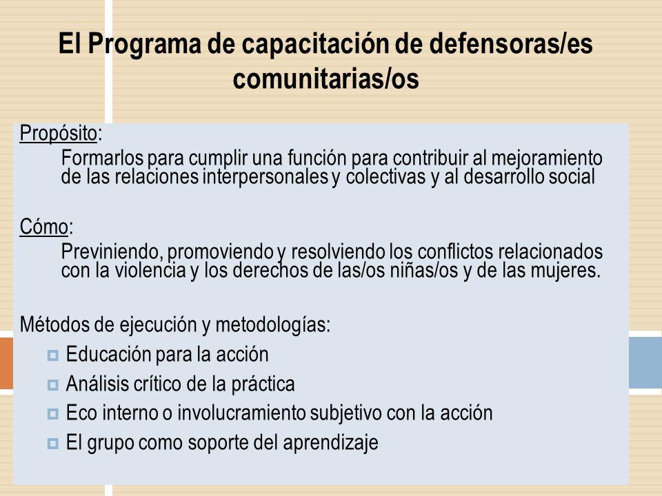 El Programa de capacitación de defensoras/es comunitarias/os