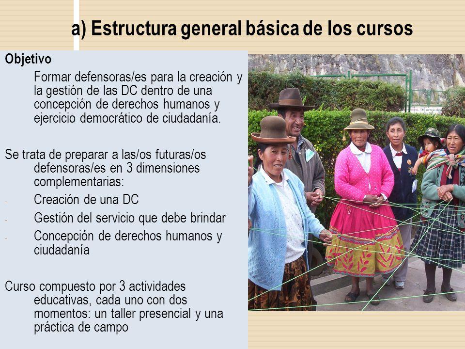 a) Estructura general básica de los cursos