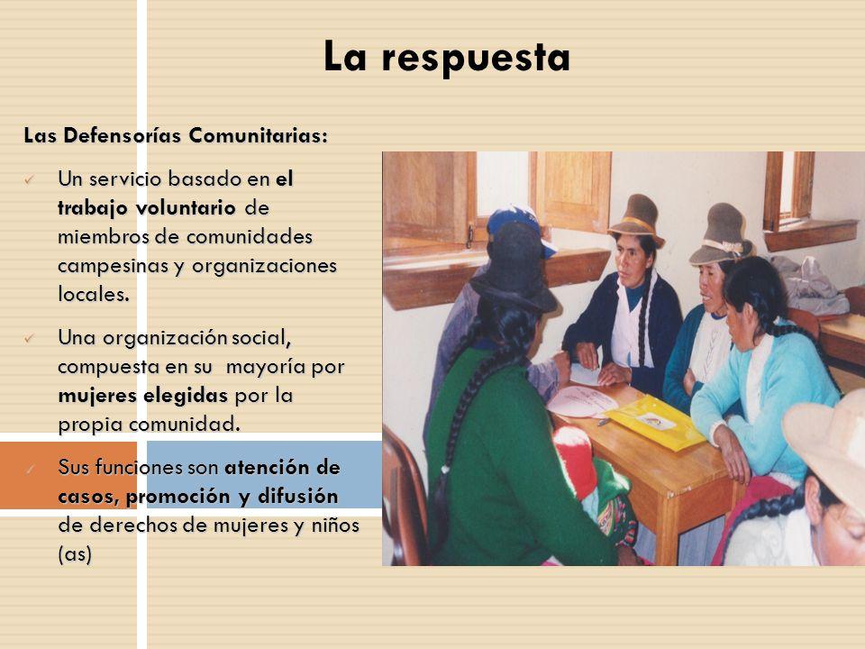 La respuesta Las Defensorías Comunitarias: