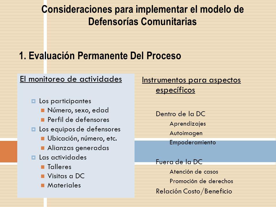 Consideraciones para implementar el modelo de Defensorías Comunitarias