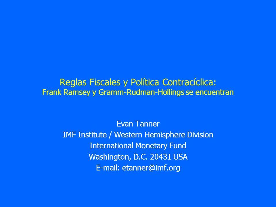Reglas Fiscales y Política Contracíclica: Frank Ramsey y Gramm-Rudman-Hollings se encuentran