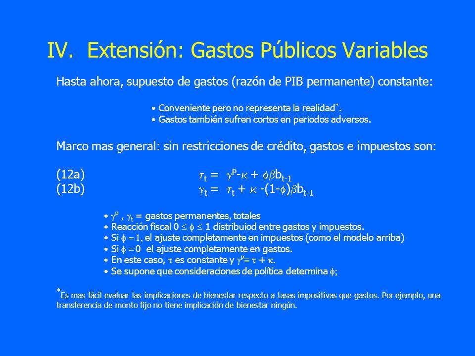IV. Extensión: Gastos Públicos Variables
