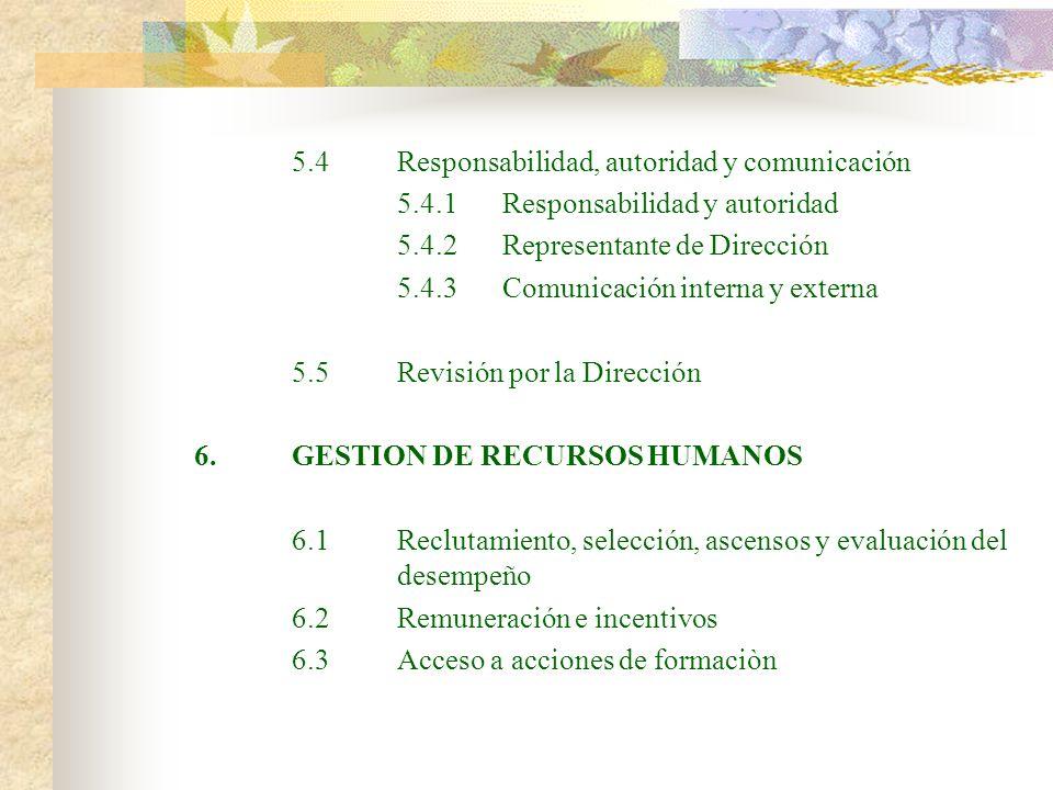 5.4 Responsabilidad, autoridad y comunicación