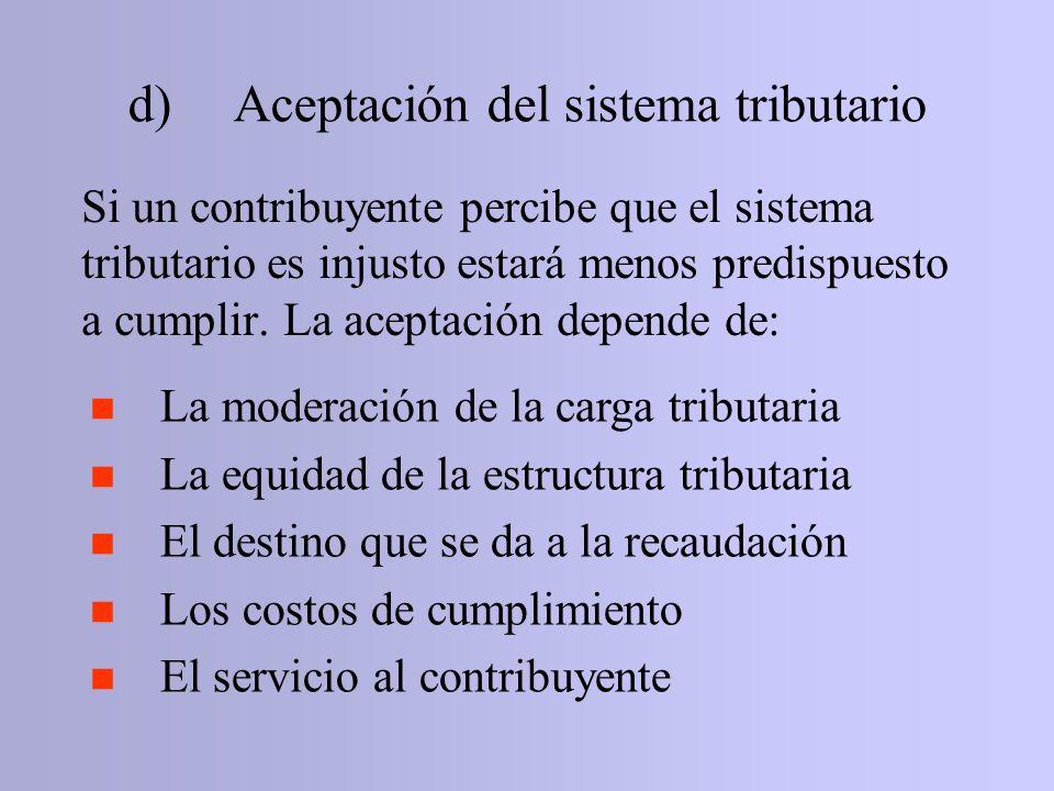 d) Aceptación del sistema tributario