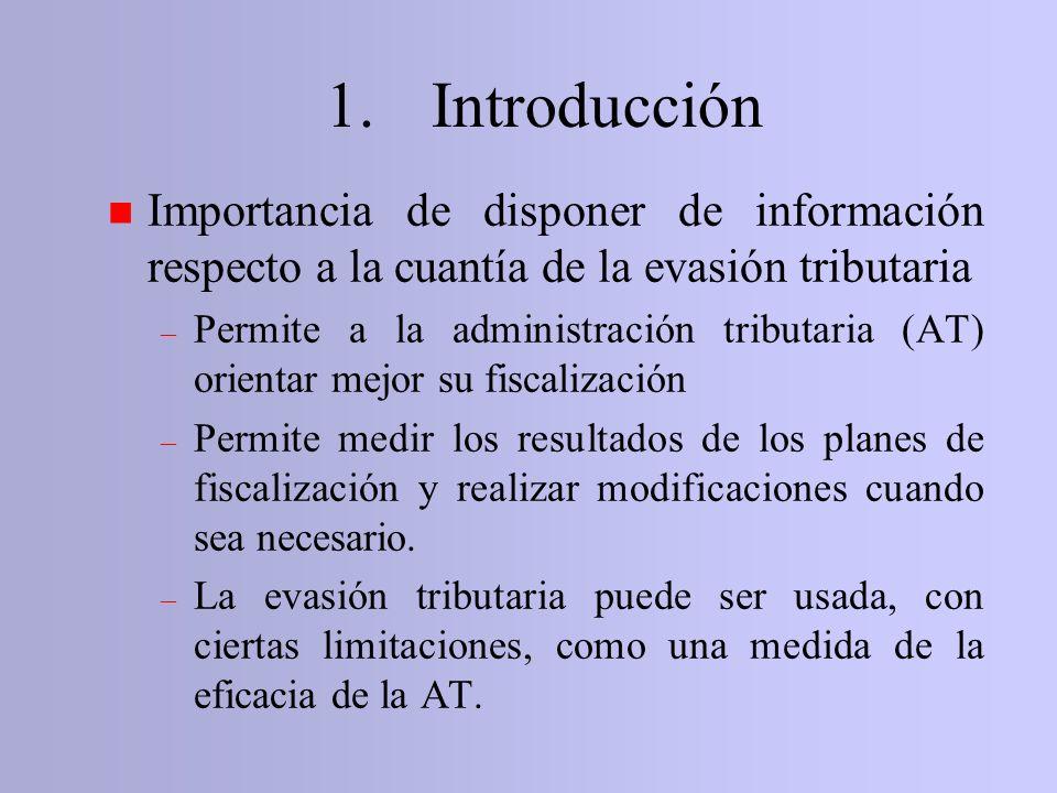 1. Introducción Importancia de disponer de información respecto a la cuantía de la evasión tributaria.