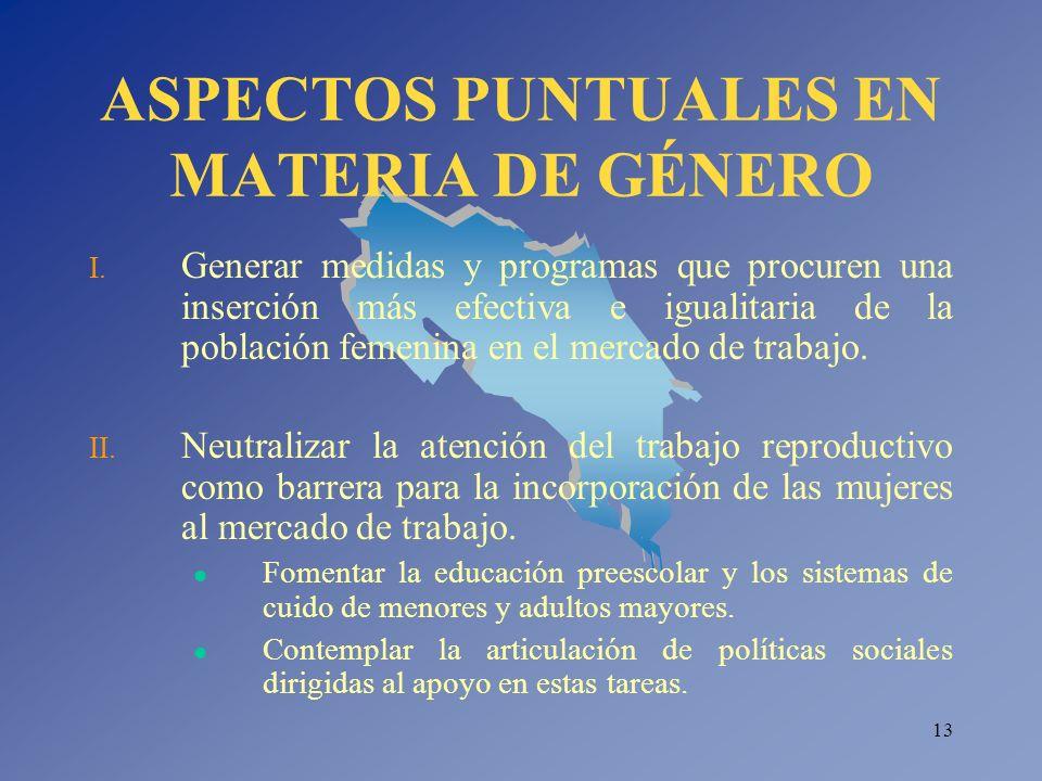 ASPECTOS PUNTUALES EN MATERIA DE GÉNERO