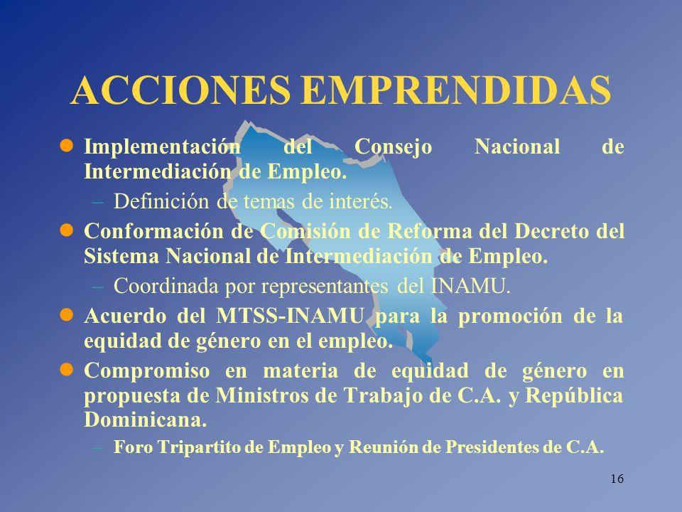 ACCIONES EMPRENDIDAS Implementación del Consejo Nacional de Intermediación de Empleo. Definición de temas de interés.