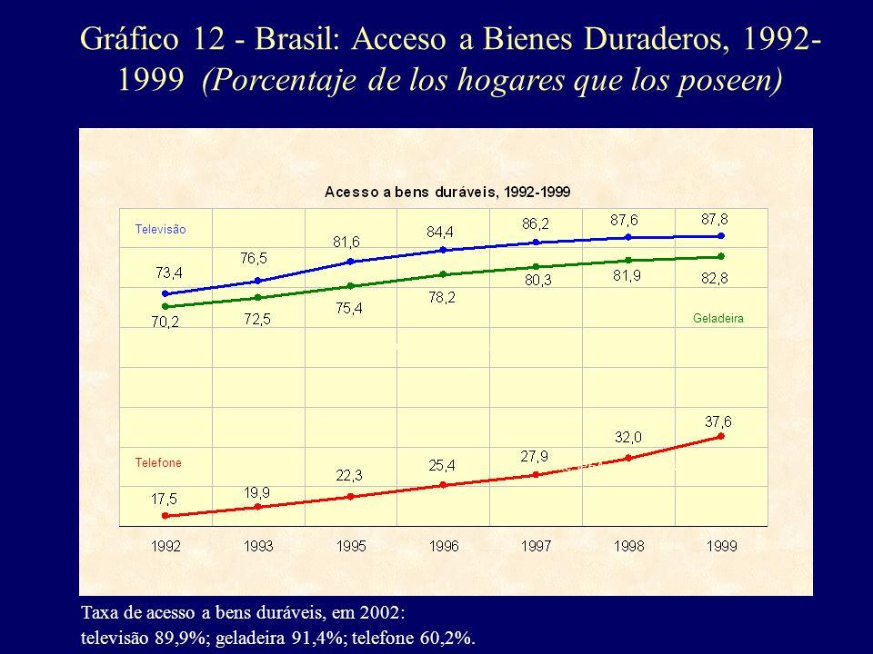 Gráfico 12 - Brasil: Acceso a Bienes Duraderos, 1992-1999 (Porcentaje de los hogares que los poseen)