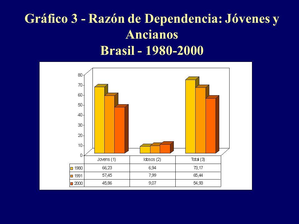 Gráfico 3 - Razón de Dependencia: Jóvenes y Ancianos