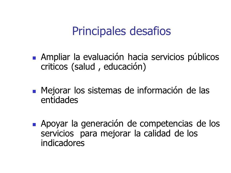 Principales desafios Ampliar la evaluación hacia servicios públicos criticos (salud , educación)
