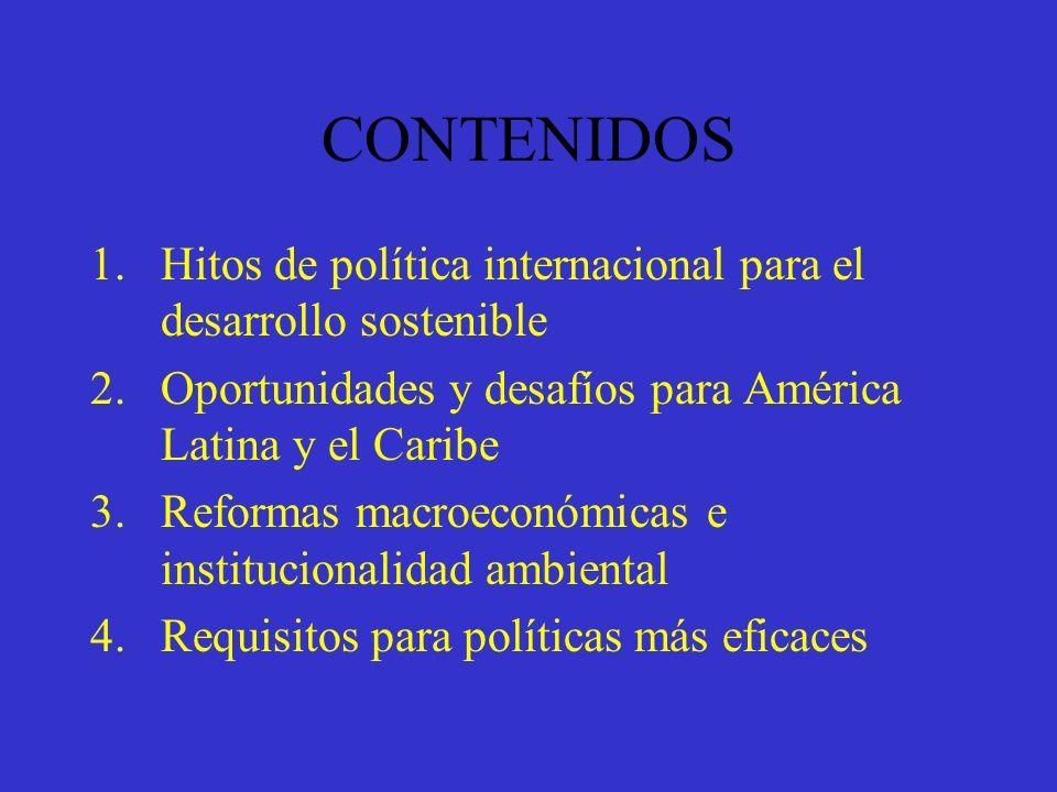 CONTENIDOS Hitos de política internacional para el desarrollo sostenible. Oportunidades y desafíos para América Latina y el Caribe.