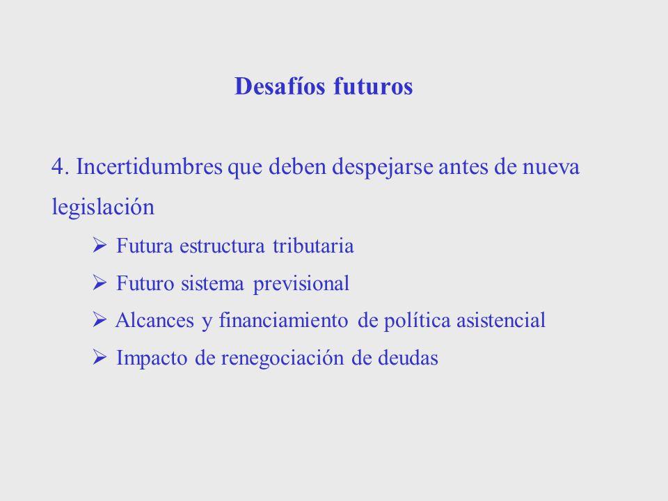 Desafíos futuros4. Incertidumbres que deben despejarse antes de nueva legislación. Futura estructura tributaria.