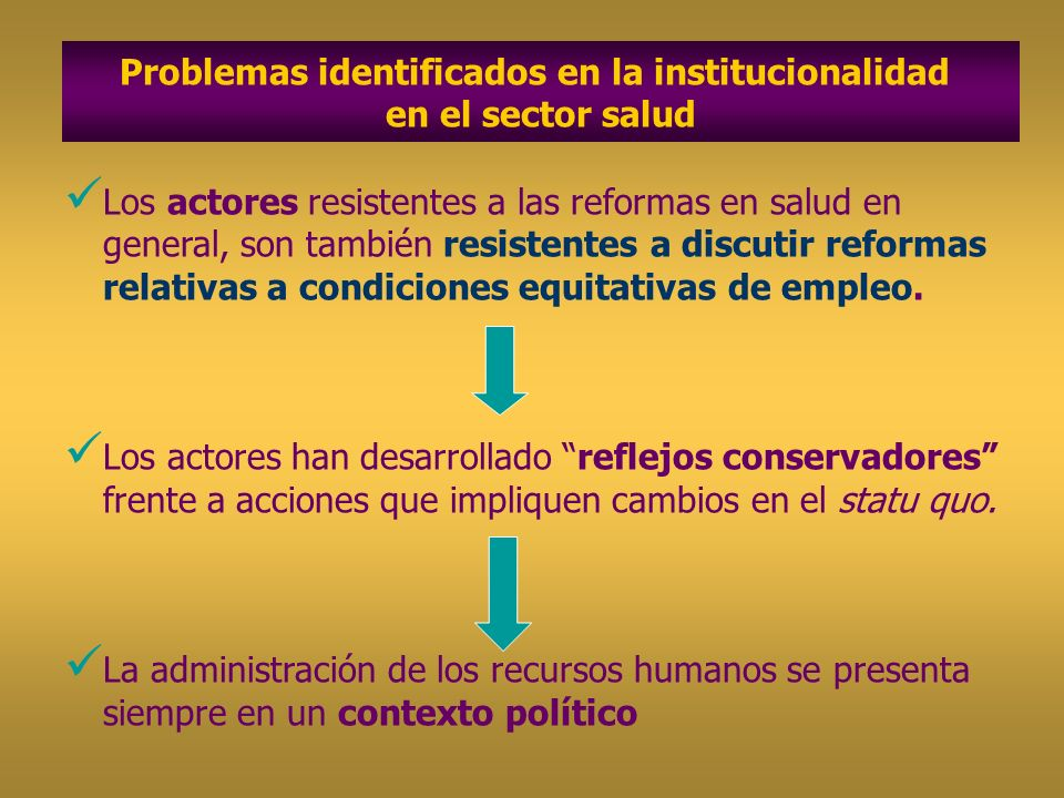 Problemas identificados en la institucionalidad