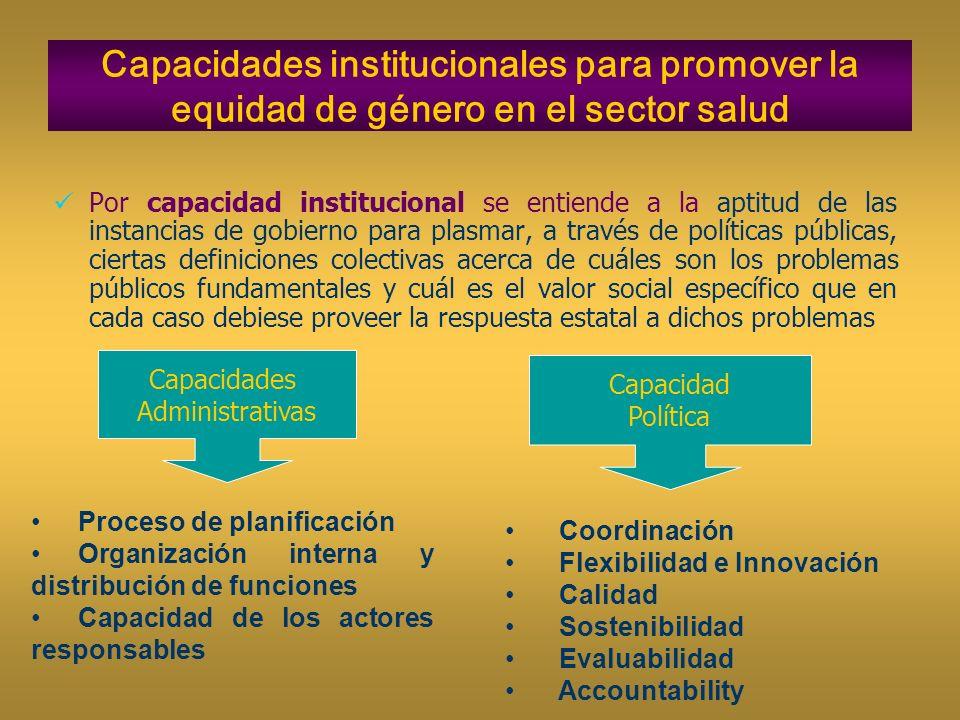 Capacidades institucionales para promover la equidad de género en el sector salud