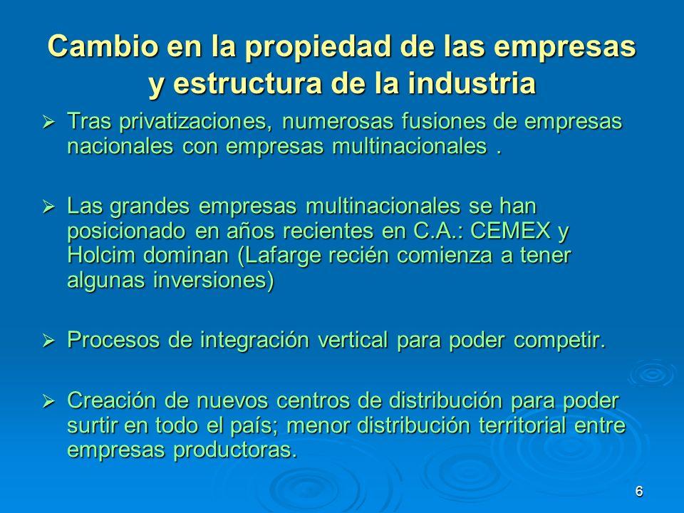 Cambio en la propiedad de las empresas y estructura de la industria