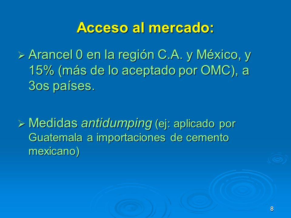 Acceso al mercado: Arancel 0 en la región C.A. y México, y 15% (más de lo aceptado por OMC), a 3os países.