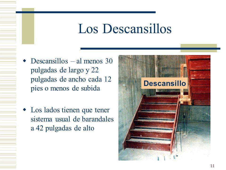Los Descansillos Descansillos – al menos 30 pulgadas de largo y 22 pulgadas de ancho cada 12 pies o menos de subida.