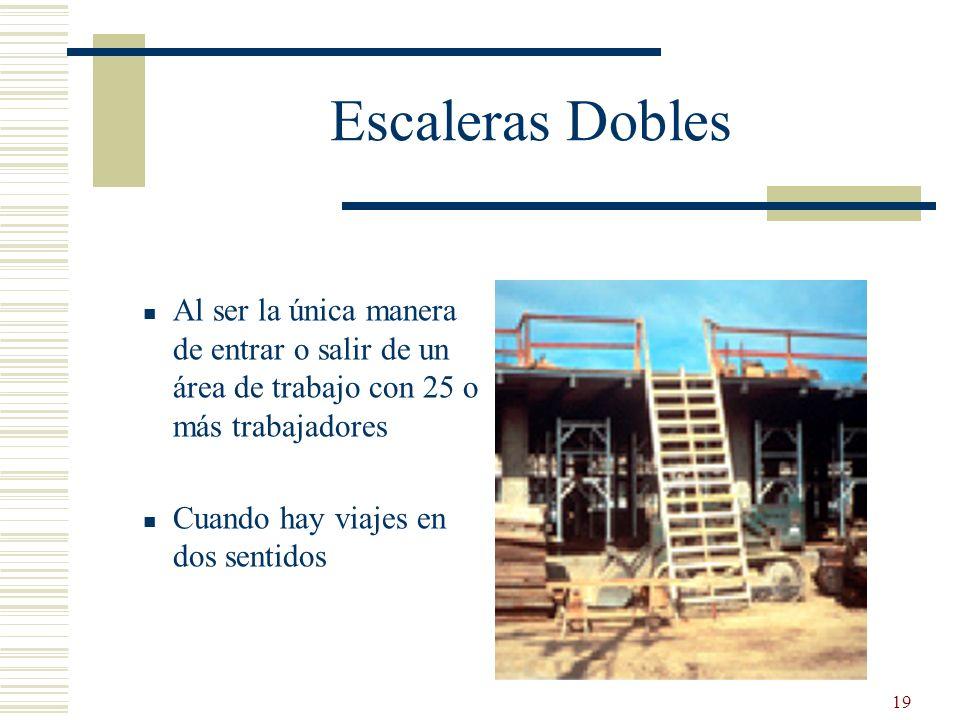 Escaleras Dobles Al ser la única manera de entrar o salir de un área de trabajo con 25 o más trabajadores.