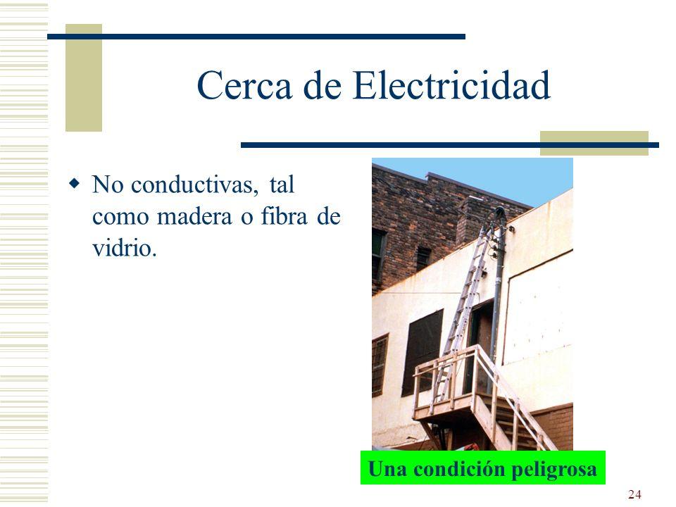 Cerca de Electricidad No conductivas, tal como madera o fibra de vidrio. Reference 1926.1053(b)(12)