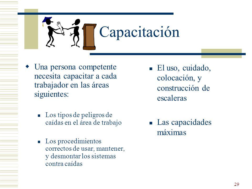 Capacitación Una persona competente necesita capacitar a cada trabajador en las áreas siguientes: