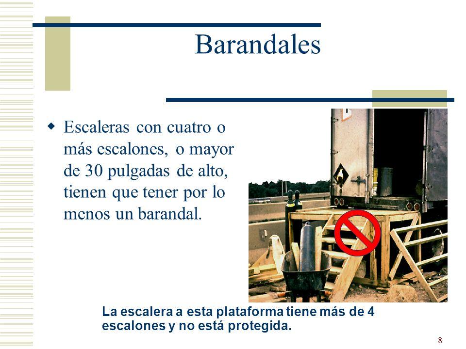 Barandales Escaleras con cuatro o más escalones, o mayor de 30 pulgadas de alto, tienen que tener por lo menos un barandal.
