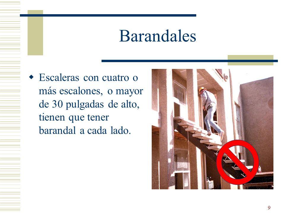 Barandales Escaleras con cuatro o más escalones, o mayor de 30 pulgadas de alto, tienen que tener barandal a cada lado.
