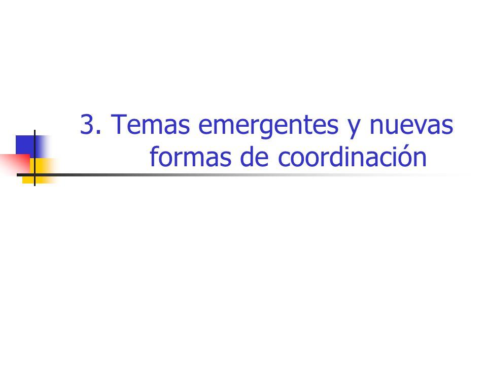 3. Temas emergentes y nuevas formas de coordinación