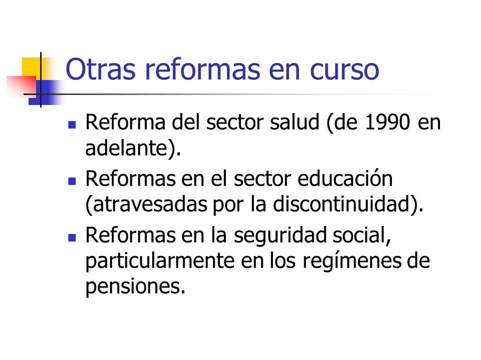 Otras reformas en curso