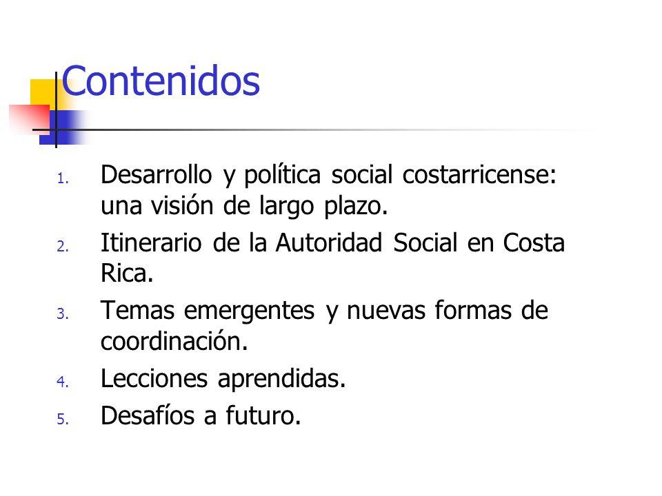 Contenidos Desarrollo y política social costarricense: una visión de largo plazo. Itinerario de la Autoridad Social en Costa Rica.