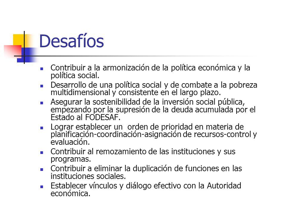 Desafíos Contribuir a la armonización de la política económica y la política social.