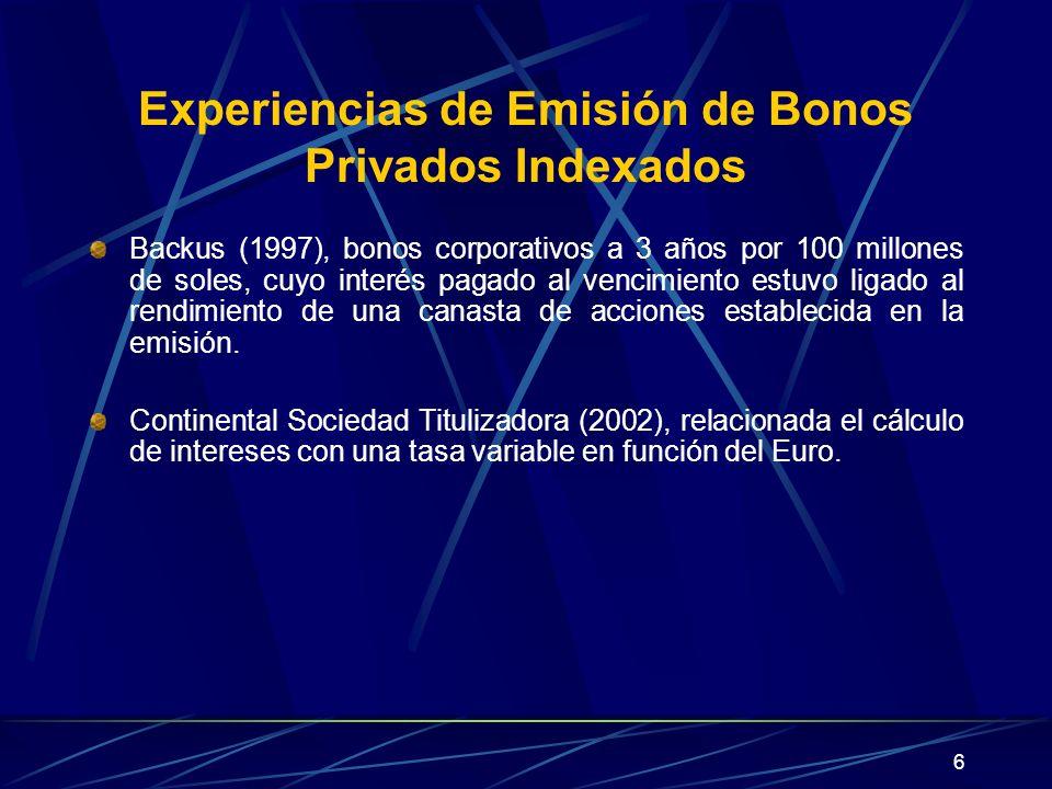 Experiencias de Emisión de Bonos Privados Indexados