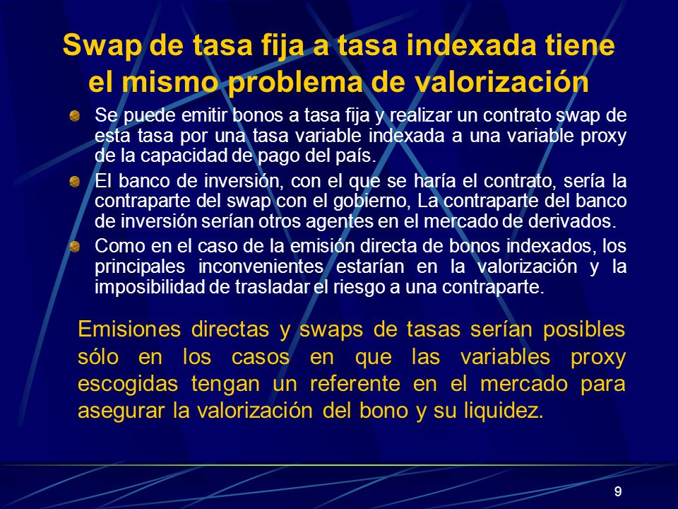 Swap de tasa fija a tasa indexada tiene el mismo problema de valorización