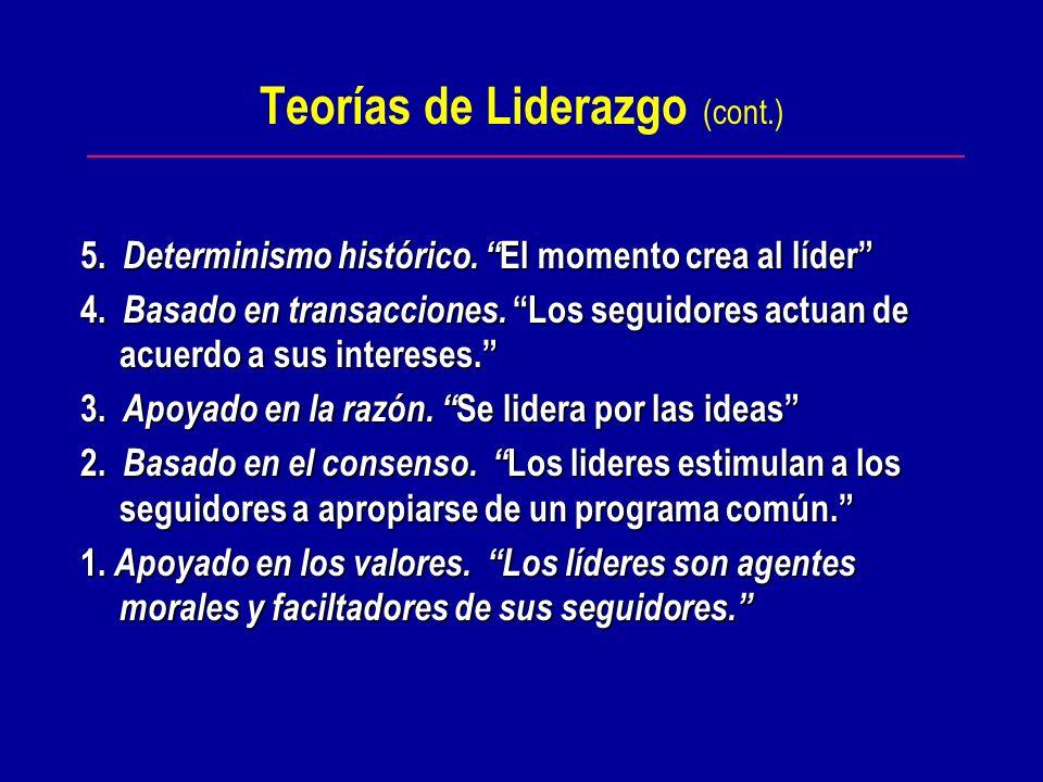Teorías de Liderazgo (cont.)