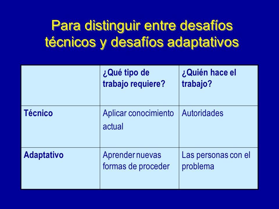 Para distinguir entre desafíos técnicos y desafíos adaptativos