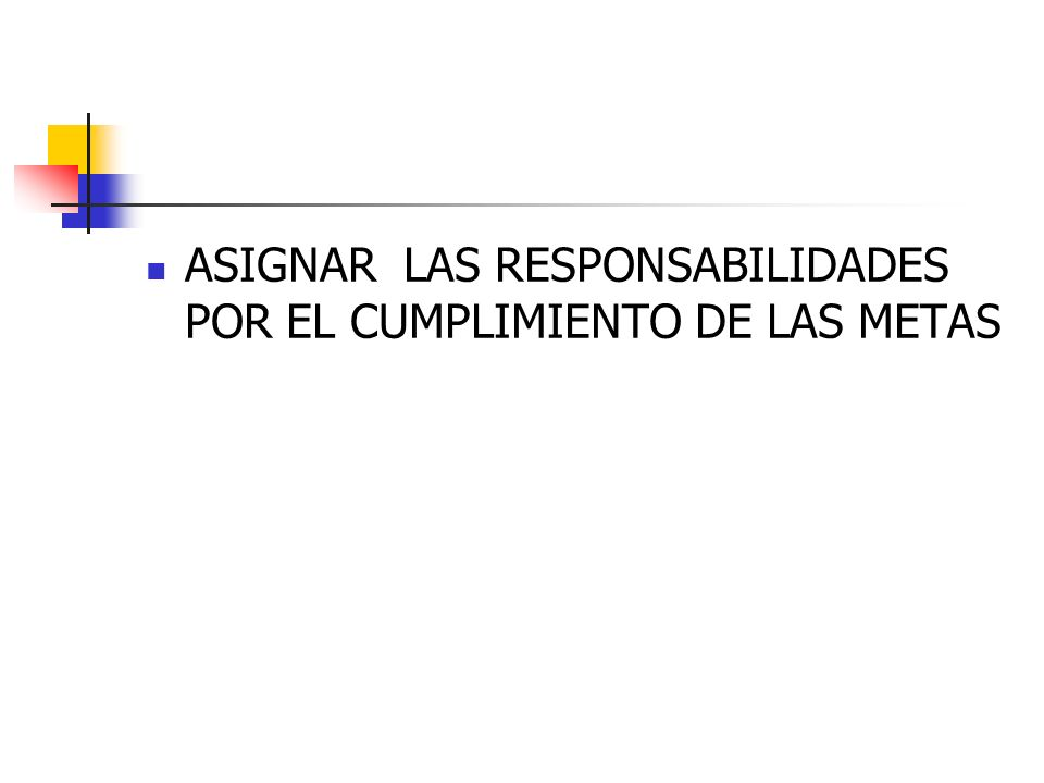 ASIGNAR LAS RESPONSABILIDADES POR EL CUMPLIMIENTO DE LAS METAS