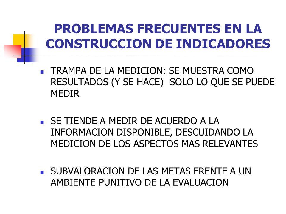 PROBLEMAS FRECUENTES EN LA CONSTRUCCION DE INDICADORES