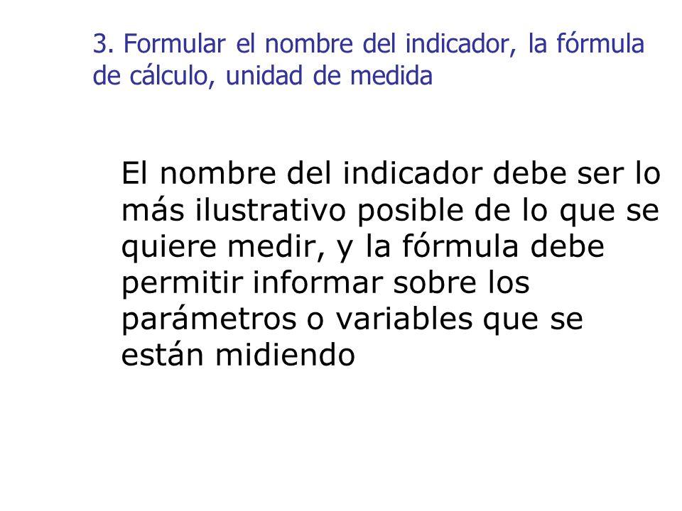 3. Formular el nombre del indicador, la fórmula de cálculo, unidad de medida