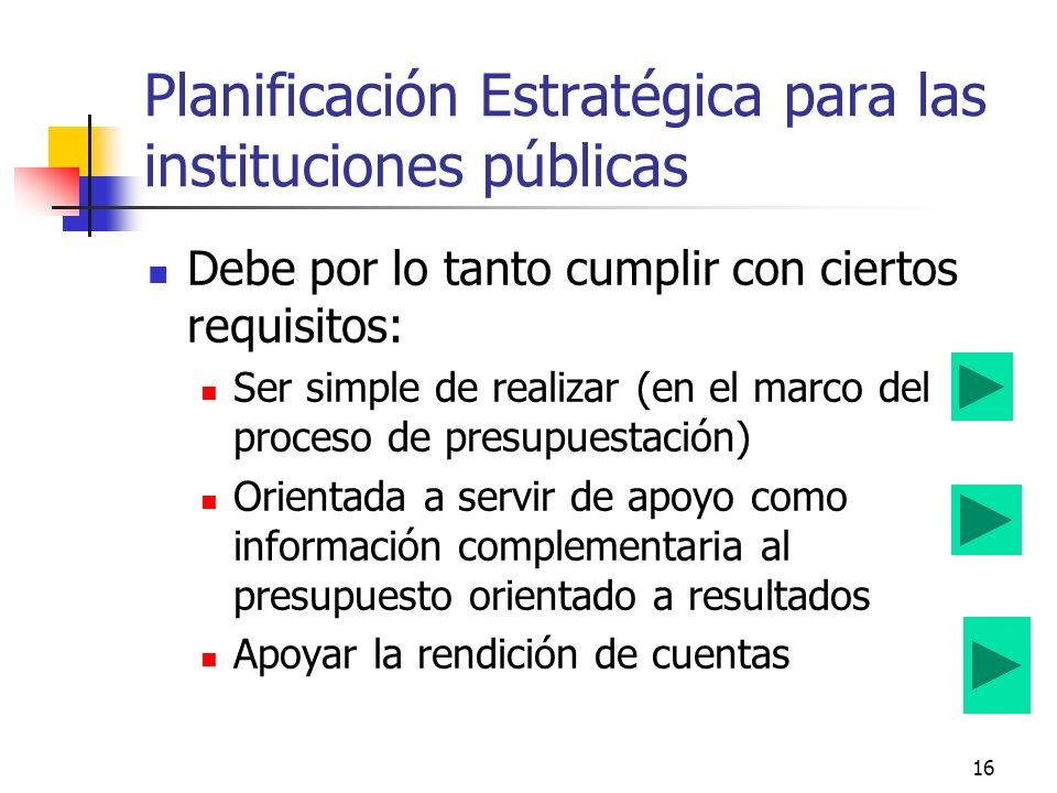 Planificación Estratégica para las instituciones públicas