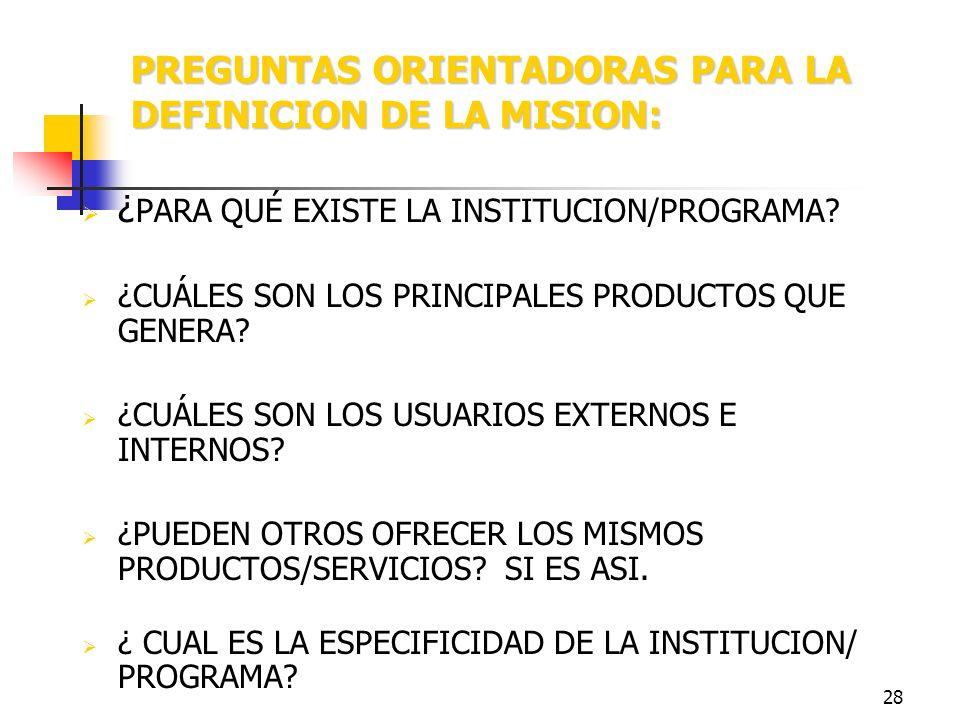 PREGUNTAS ORIENTADORAS PARA LA DEFINICION DE LA MISION: