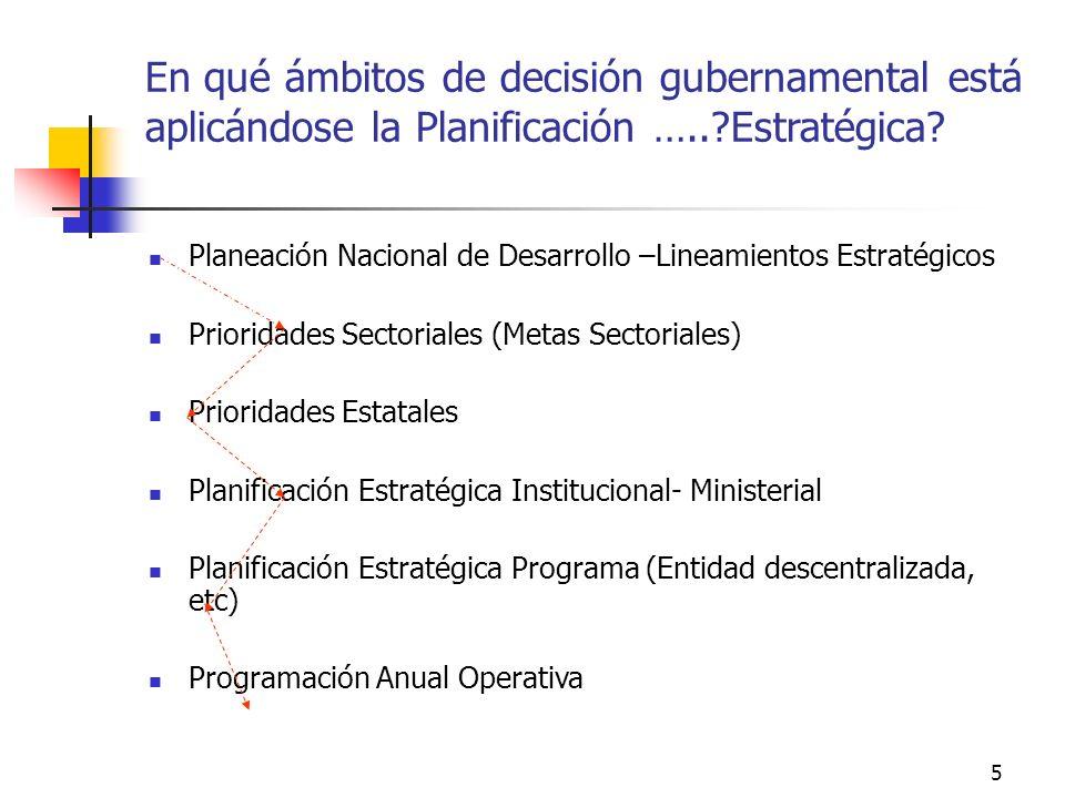 En qué ámbitos de decisión gubernamental está aplicándose la Planificación ….. Estratégica