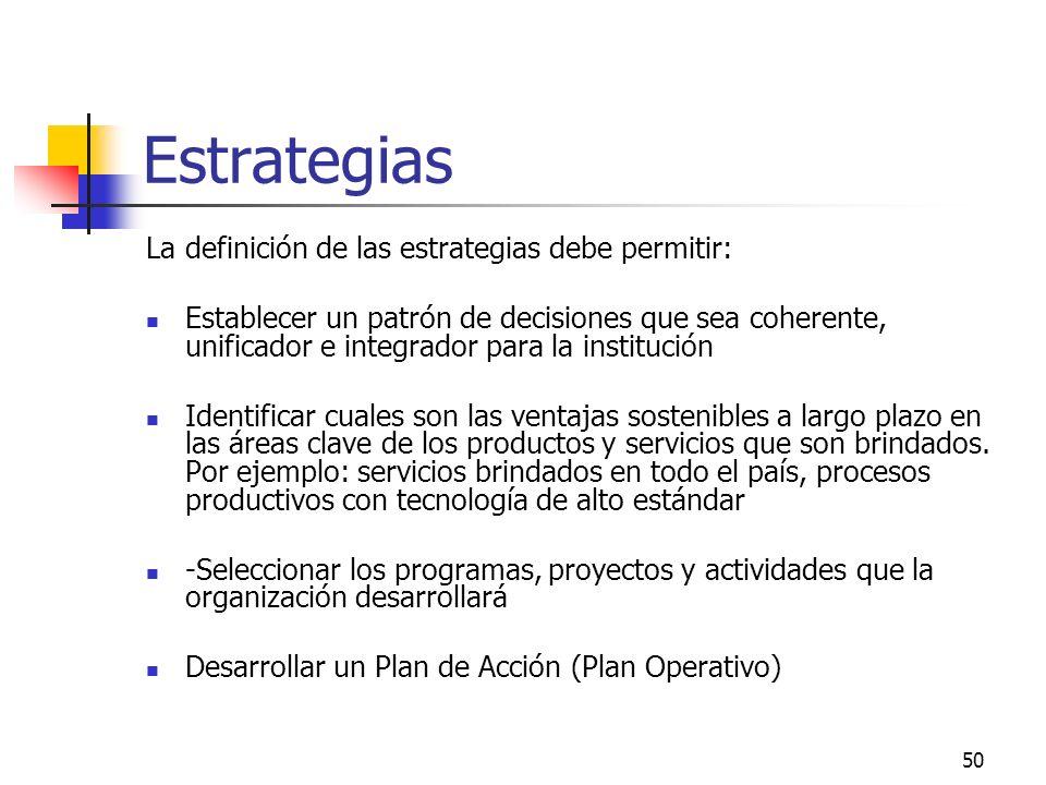 Estrategias La definición de las estrategias debe permitir: