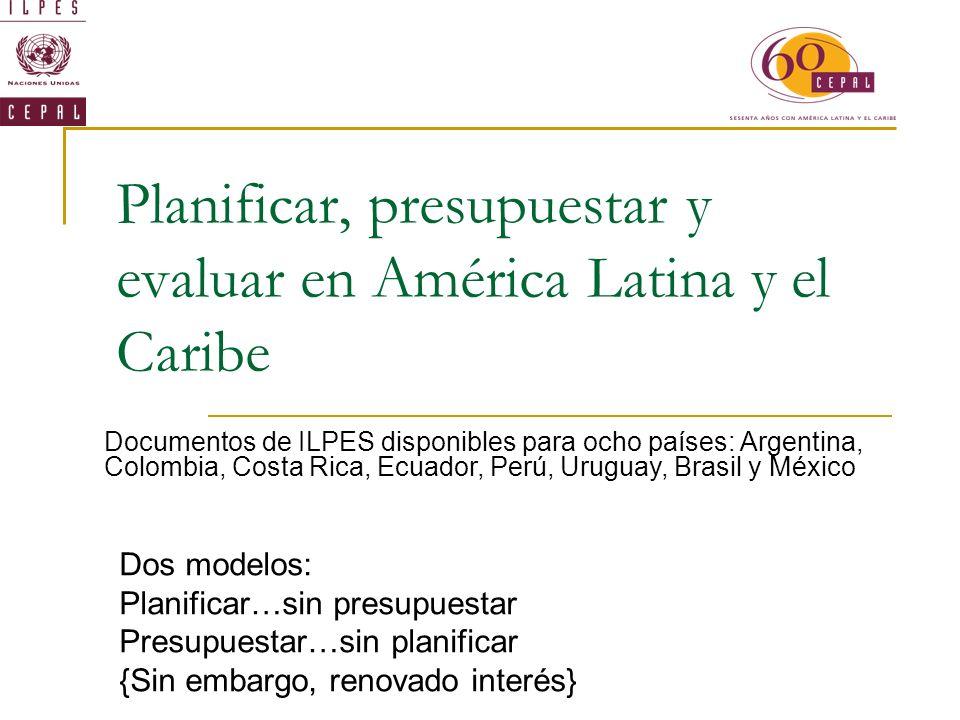 Planificar, presupuestar y evaluar en América Latina y el Caribe